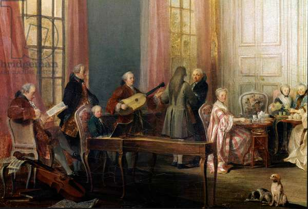 Tea Party with the Prince of Conti at the Temple detail, young Mozart is sitting at the piano, 1766 (oil on canvas)