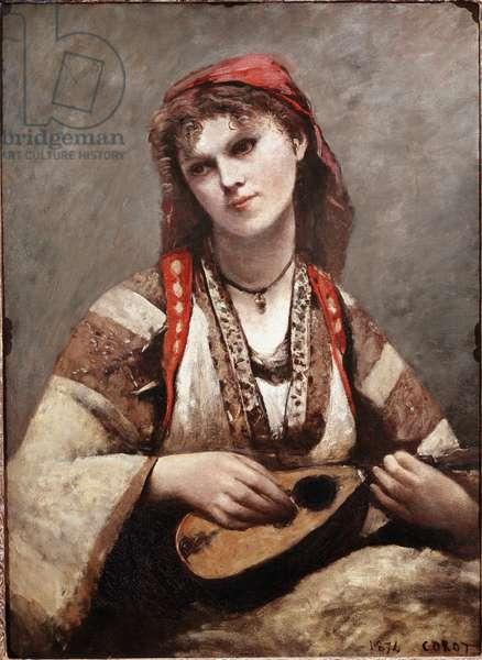 Gypsy has mandolin. Painting by Jean-Baptiste Camille Corot (1796-1875). 1874. Art Museum of Sao Paulo. Brazil