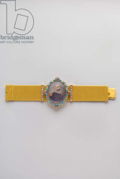 Belgium - Order of Leopold: bracelet adorned with the portrait of Leopold II (1835-1909), King of the Belgians (1865-1909), offered by the sovereign to the explorer Henry Morton Stanley (1841-1904) - late 19th century - Gold, diamonds and turquoise; miniature on ivory - Bracelet: H 2.6 cm; W 20.5 cm; weight 110 g - Medallion: H 7 cm; W: 4.6 cm - Collection special