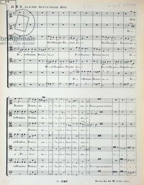 """Musical score of """""""" Dixit dominus"""""""" by italian composer Claudio Monteverdi (1567-1643). Milan, biblioteca del conservatorio"""