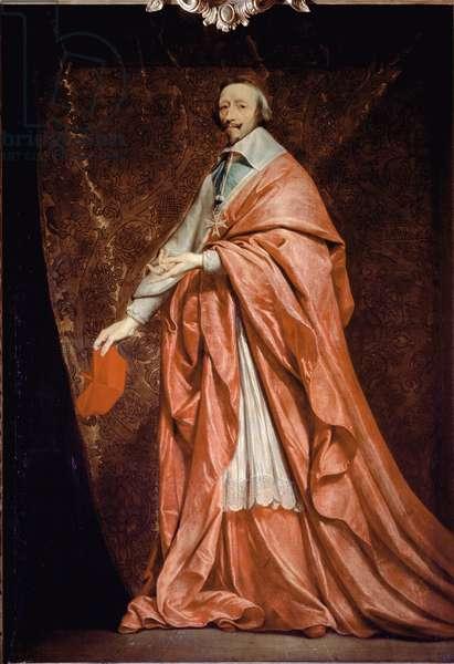Full length portrait of Armand Jean du Plessis, cardinal de Richelieu, minister of Louis XIII - oil on canvas,  17th century