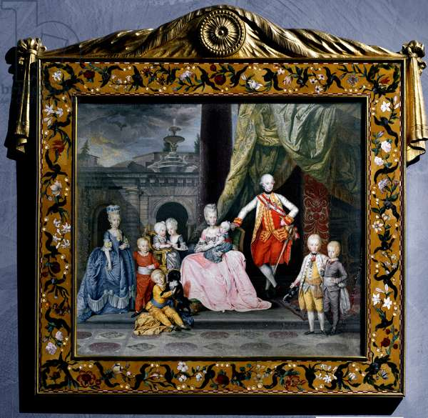 Portrait of Leopold II of the Holy Empire, with his family (Maria Luisa of Spain and their 8 children), 1776 (miniature painting)