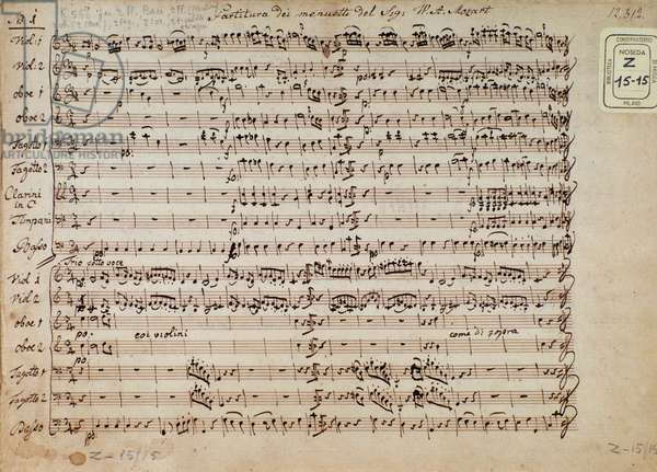 Sheet music page of minuets in 5 cadences forpiano by Mozart (manuscript, 1880)