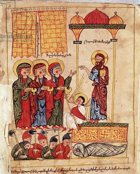 The pious women, detail (illustrated manuscript, 1330)