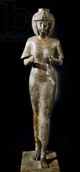Egyptian antiquite: bronze statue of Queen Karomama, wife of Pharaoh Takelot II. 21st dynasty. Paris, Louvre Museum