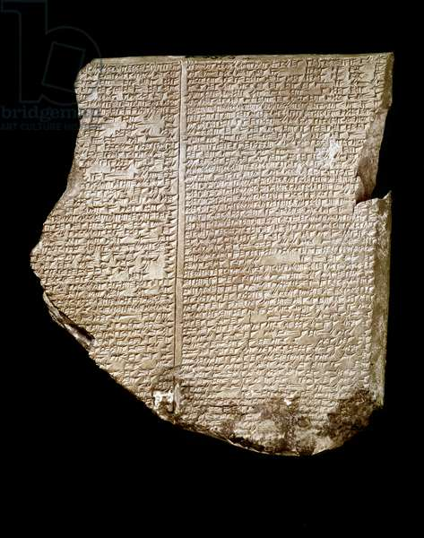 "Mesopotamie: engraved tablet of inscription in cuneiform called """" Deluge Tablet (Flood)"""" recounting the exploits (epopee) of the Sumerian heros Gilgamesh. 7th century BC. from the site of Nineveh (Iraq). London, british museum"