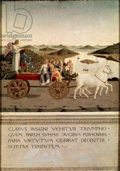 Diptych of the triumph of Battista Sforza and Federico da Montefeltro (1422-1482) (Frederic de Montefeltre, Duke of Urbino (Urbino) (reverse of the double portrait of Federico and his wife Battista Sforza) (Diptych of triumph of Federico da Montefeltro and Battista Sforza)): detail of the triumph of the triumph of the triumph of the triumph of Montefeltro by Frederic de Montefeltro) Painting by Piero della Francesca (1419/1421- 1492) Dim 47x33 cm Tempera on wood, 1465 Uffizi Gallery (Uffizi), Florence