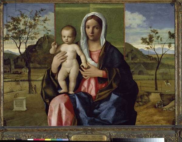 The Virgin and Child - Painting by Giovanni Bellini dit Giambellino (ca. 1432-1516), oil on wood, 85x118 cm, 1510. Milano, Pinacoteca di Brera