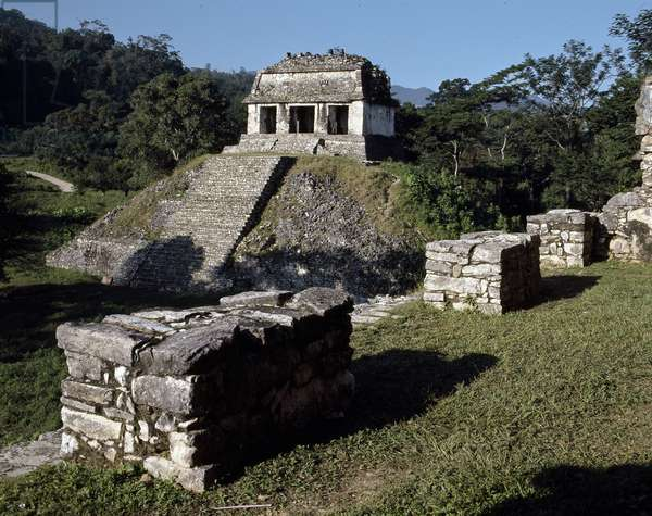 Precolombian Art, Mayan Civilization: View of the Site of Palenque - Temple of Count 7th-10th Century Chiapas Mexico (Pre-Columbian Art, Maya Civilization: Temple of the Count 7th-10th Century Palenque Mexico City)