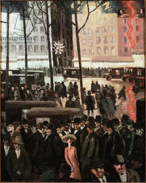 Parisian street scene, 1924 (oil on canvas)