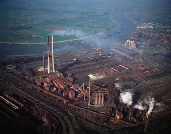 Aerial view of Thyssen Ag Rheinstahl steel mill, 1990 - Photography