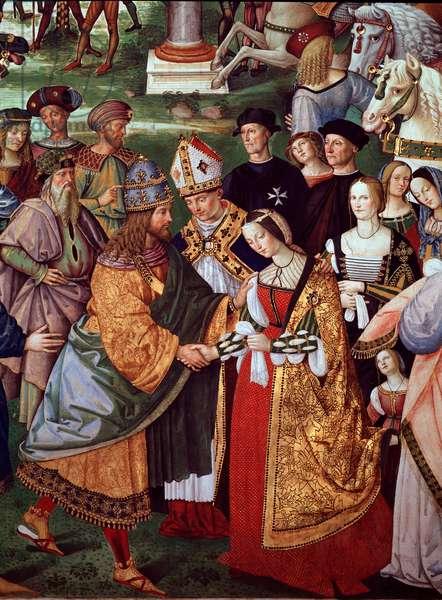 """Life of Pope Pio (Pius) II (Enea Silvio Piccolomini, 1405-1464): poet Enee Silvio Piccolomini (Aeneas Sylvius) presents Eleonore of Portugal (1434-1467) to Emperor Frederic III of the Holy Empire (1415-1493) at the Camollia Gate in Siena"""" Detail. Fresco by Bernardino di Betto dit Il Pinturicchio (1454-1513) 1505-1507 Siena, Duomo, Libreria Piccolomini"""
