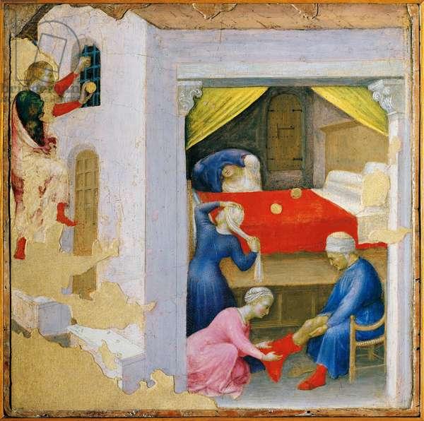 Polyptic Quaratesi: Saint Nicholas offers the three golden balls to the three girls, 14th-15th century (painting)