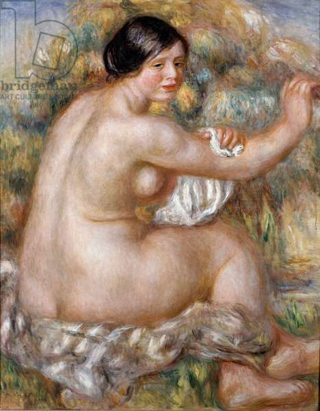 Big naked sitting. Painting by Pierre Auguste RENOIR (1841-1919), 1912 Oil on canvas. Brazil, Sao Paulo. Museu de Arte de Sao Paulo (MASP).