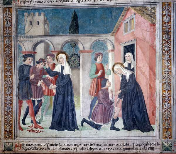 "Life of St. Francesca Romana (Santa Francesca romana) (1384-1440) (Histories of St Francesca Romana): ""The saint warrives a man wounds during a fight"""" (The saint heals a wounded man) Fresco by Antoniazzo Romano (15th century) 1468 Rome, convent of the community of Oblate di Tor de 'chi Italy"