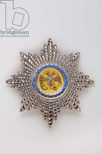 Kingdom of the Two Sicilies - Royal House of the Two Sicilies: plate of the Order of Saint Andre (Russia) - beginning of the 19th century - Gold, marcasite and emals - H: 8.5 cm; weight: 60 g - Private collection