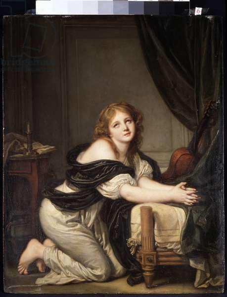 The morning prayer (oil on canvas, 18th century)