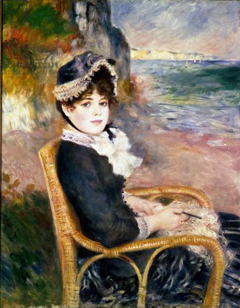 On the beach. A woman crochet. Painting by Pierre Auguste Renoir (Pierre-Auguste, 1841-1919), 1883 Oil on canvas. Dim: 92x73cm. New York City, Metropolitan Museum of Art
