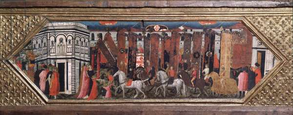 Processione dei pali di San Giovanni - Wooden chest with representations of the feast of San Giovanni Battista in Florence - Painting by Giovanni Toscani (1370-1430), Bargello Museum, Florence