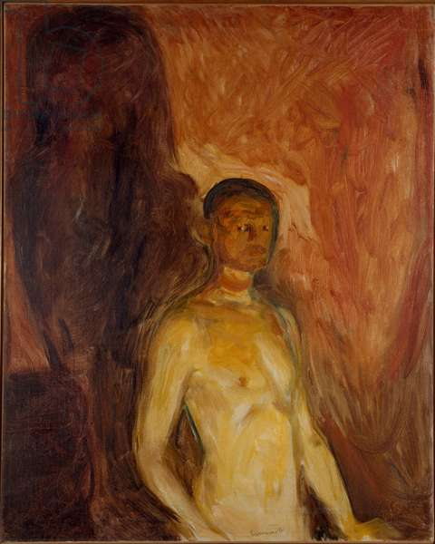 Self Portrait in Hell Painting by Edvard Munch (1863-1944) 1895 approx. Sun. 81,5x65,5 cm Oslo, Kommunes Kunstsamlinger Munch-Museet (Musee Munch)