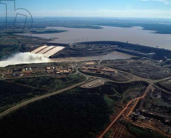 Aerial view of Itaipu Dam, Parana State, Brazil - Aerial view of Itaipu dam, Brazil, 1983 - Photography