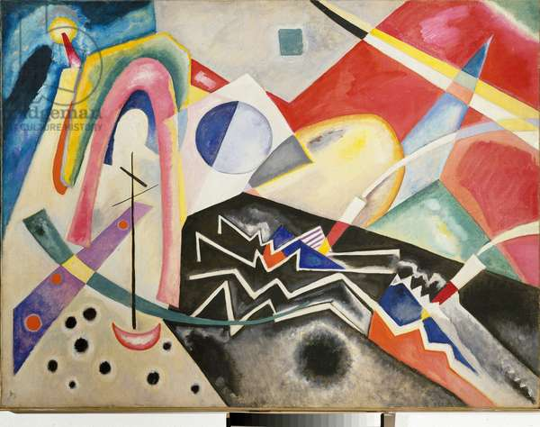 Zig-zag (zig zag) white Painting by Vassily Kandinsky (or Wassily Kandinski or Kandinskij, 1866-1944) 1922 Dim. 95x125 cm Venice, Museo d'Arte Moderna 'Ca' Pesaro '