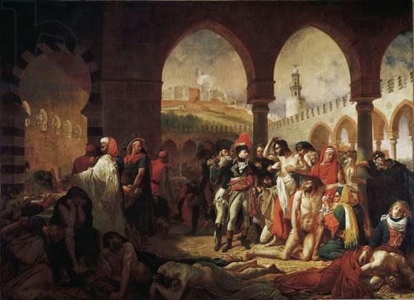 """Campaign (Expedition) of Egypt (1798-1801): """""""" Napoleon Bonaparte (1769-1821) Visiting the Pestiferes of Jaffa on 11/03/1799"""""""" Painting by Antoine Jean Gros (1771-1835) 1804 Sun. 5,23x7,15 m Paris, Musee du Louvre - Campaign of Egypt (1798-1801): Napoleon Bonaparte (1798-1801) 69-1821) visiting the beach-stricken in Jaffa, 11 March 1799. Painting by Antoine Jean Gros (1771-1835), 1804. 5.23 x 7.15 m. Louvre Museum, Paris"""