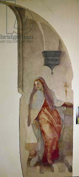 The Annunciation,  detail of the Virgin (Fresco, 1527-1528)