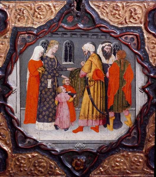 "Tenth day, ninth news: the day of Messer Torello and Saladin (1138-1193) (Salah al Din Yusuf al-Ayyubi (al Ayyubi). Painted box illustrating the ""Decameron"""" by Giovanni Boccaccio (Jean Boccaccio) (1313-1375). 15th century. Florence, Museo Nazionale del Bargello"