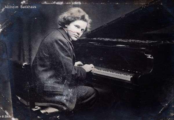 Portrait of German pianist Wilhelm Backhaus, ca 1901 (b/w photo)