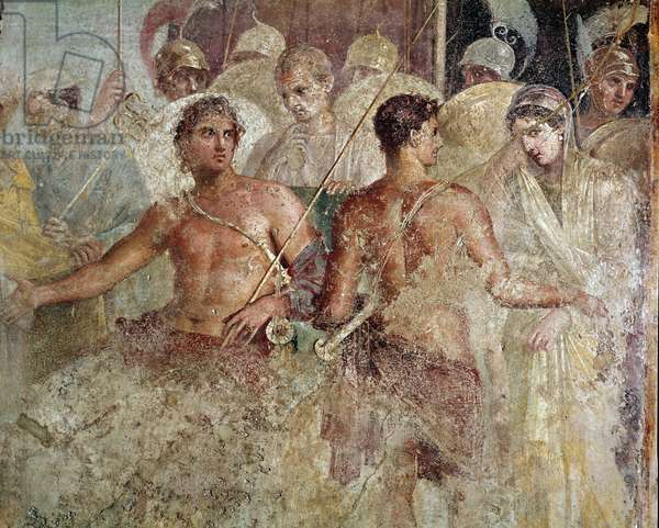 """Roman art: """""""" the farewell of Achilles and of briseis"""""""" Detail (Roman art, the Achilles and Briseis farewell) fresco from the house of the tragic poet, Pompei, 1st century AD (detail of fresco from Casa del Poeta Tragico, Pompeii, 1st century AD) Naples, Museo Archeologico Nazionale, inv 9105"""