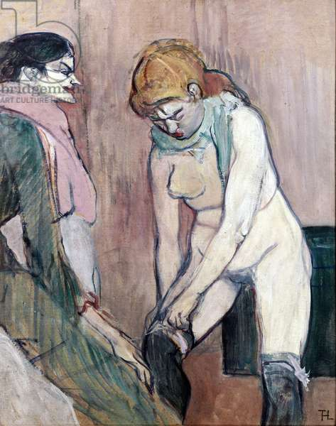 Woman pulling her stockings or Woman of house (painting on cardboard, 1894)