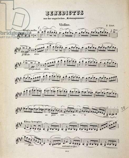 "Violin score page from ""Hungarian Coronation Mass"" by Franz Liszt (litho)"