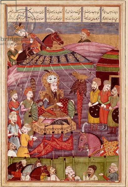 """Islamic Art: """""""" Sohrab looks at the red tent of Rostame, his father"""""""" Persian miniature from a manuscript of the epic poem """""""" Shahnameh"""""""" (Shah Nama, Shahnama) (Book of Kings) by Ferdowsi (Firdawsi, or Ferdawsi, or Firdousi, ca. 940-around 1020) (ms. 607) Chantilly, Conde museum"""