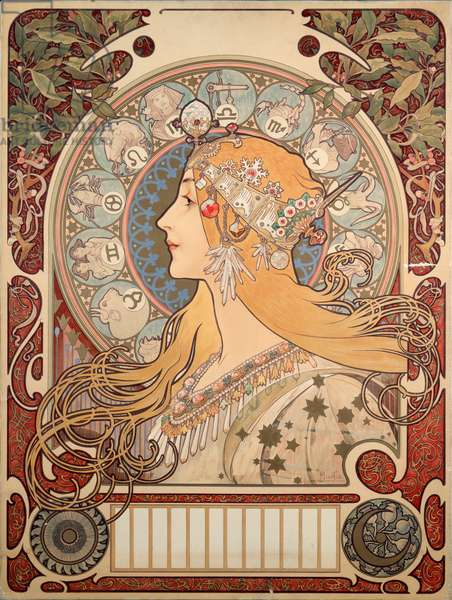 "Poster by Alphonse Mucha (1860-1939) for the magazine ""La plume"""", 1896 - Poster illustration by Alphonse Mucha (1860-1939) for ""La plume"""" review, 1896 (Dim 65x48 cm) - Private collection"