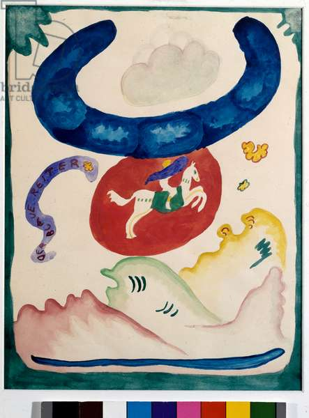 "Expressionism: cover project for the almanac of """" The Blue Rider"""" (Der Blaue Reiter) by Vassily Kandinsky (or Wassily Kandinski or Kandinskij, 1866-1944). China ink and watercolor. 1911 Dim. 28x21.7 cm Munich, Stadt. Gallery in Lenbachhaus"