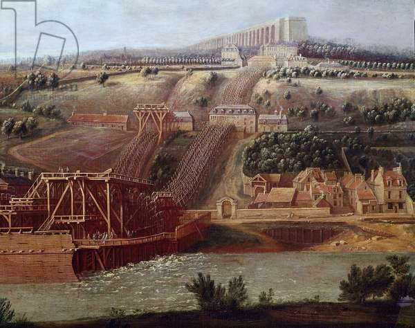 View of the machine of the aqueduct of Marly installed in Bougival The aqueduct of Louveciennes (or Marly) allowed to supply Versailles to Marly's castle with water. Detail. Painting by Pierre Denis Martin (1663-1742) Sun. 1,15x1,65 m Versailles, musee du chateau