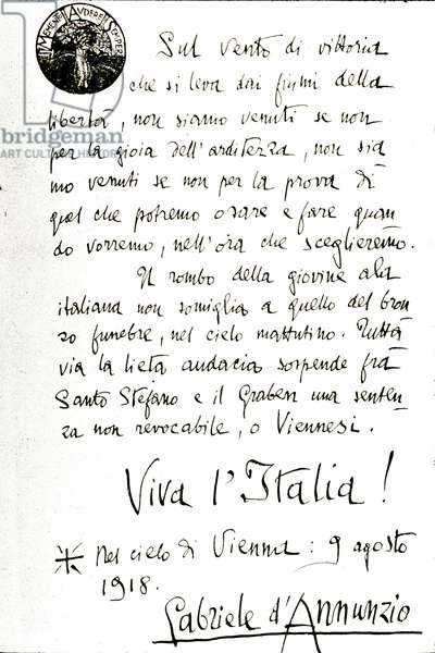 First World War: Leaflet launched by Gabriele d'Annunzio (1863-1938) during his flight to Vienna on 09/08/1918.