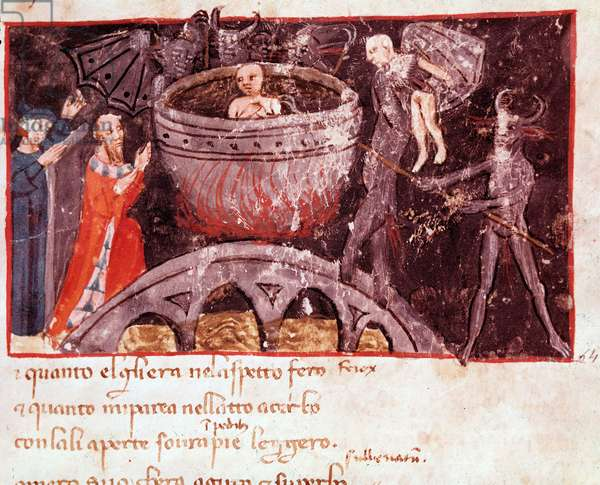 Bolgia of the counterfeiters (song 21 from Hell,  in the Divine Comedy) - miniature, 14th century
