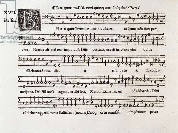 Page of musical score of Beati quorum psalm XIII by Willaert (1538)