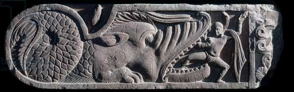 A Naga emerging from the mouth of a makara, Mathura , Kushan Empire, 1st - 5th century (stone)