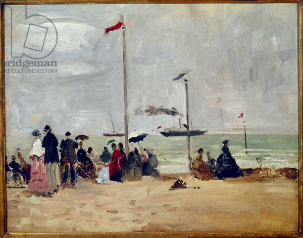 On the beach of Trouville, Normandy (On the beach of Trouville, Normandy) Painting by Eugene Boudin (1824-1898) Reims, Musee des Beaux Arts