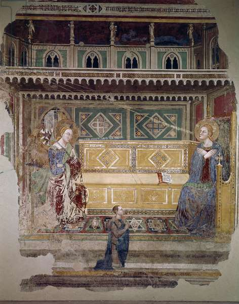 The Annunciation - Fresco by a Tuscan master of the 15th century. Firenze, Chiesa di Ognissanti