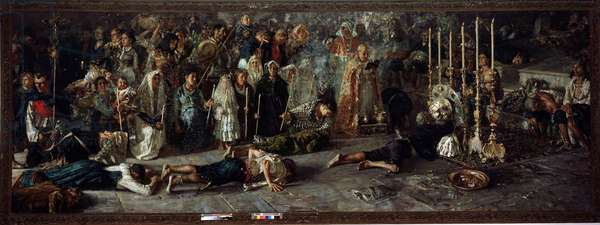 It voto Fete in homage to Saint Pantaleon July 27 a Miglianico in Abruzzo, italy Painting by Francesco Paolo Michetti (1851-1929), 1883 Dim 245x695 cm Rome, Galleria Nazionale D'Arte Moderna