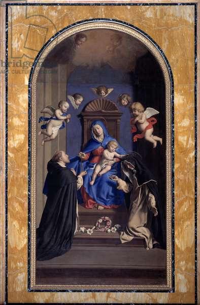 Virgin of the Rosary Painting by Sassoferrato (Giovanni Battista Salvi) (1605-1685) 1643 Rome, Convent of Santa Sabina (Saint Sabina)