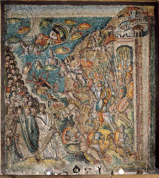 Scene from the Book of Moses: The parting of the Red Sea (mosaic)