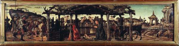 "Pala dell'Osservanza: """" The nativity of Jesus"""" (Nativity of Jesus) Painting by Francesco del Cossa (around 1436-around 1478) Dim 26,5x114,5 cm Dresden, Gemaldegalerie"