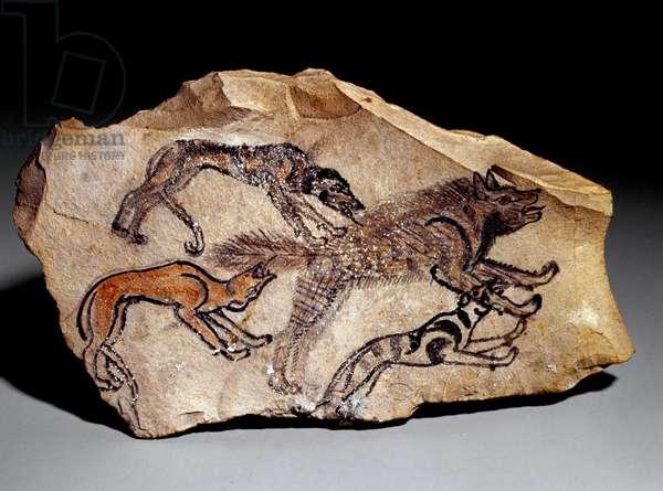 Dogs hunting hyena (Stone engraving, c.1300-1100 BC)