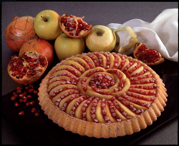 Food still life: apple and pomegranate pie