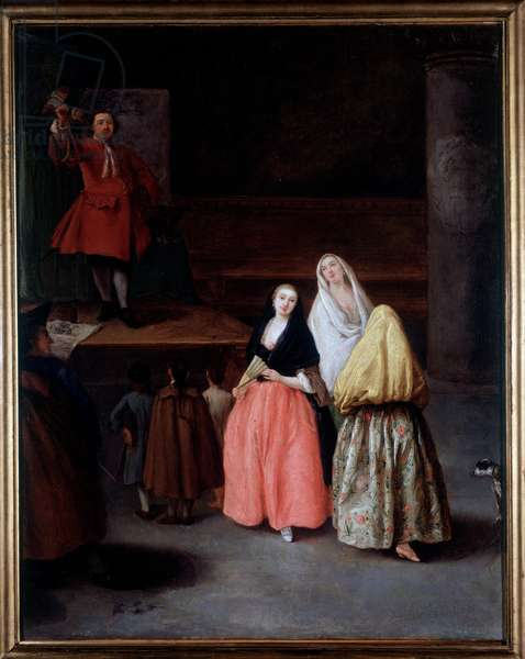 Il ciarlatano (A merchant of elixirs and potions declaiming their supposedly prodigious virtues) Painting by Pietro Longhi (1702-1785) 1757 Dim 64x54 cm private collection